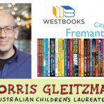 Morris Gleitzman, a row of books, Westbooks logo, City of Fremantle logo