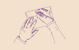 sketch of two hands on an envelope paper, right hand with pen