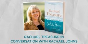 Image of Rachael Treasure and book cover of White Horses