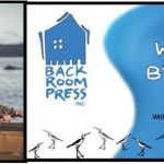 Image: Author Sarah Drummond in a row boat, Back Room Press logo and Write by the Bay logo