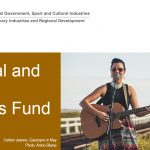 Image: DLGSC logo, Heading Regional and Remote Festivals Fund, and woman with a guitar, outdoors, singing into a microphone