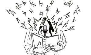 Illustration of a person at a microphone reading from a book. The person's head is replaced from lightning bolts.