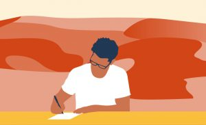 illustration of a man with glasses writing with pen and paper