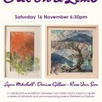 Invitation to the Launch of Out on a Limb exhibition, with two pieces of art work