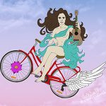 Illustration of a girl on a bicycle with a ukelele