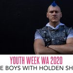 Images: cover of Invisible Boys and Holden Sheppard, arms folded and looking directly at the camera