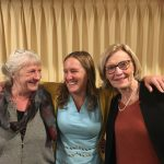 The image is of Linda Bradbury, Renee Pettit-Schipp, Patricia Gill. Renee has her arms around the other two writers and they are smiling.