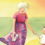 Image is an illustration of an older woman wearing a top and skirt and holding thongs in one hand. Her other hand is holiding a little boy's hand.