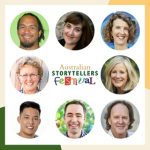 Image: headshots of the eight authors presenting at the Storytellers Festival