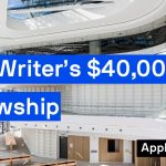 Image: the inside of a building at UTS that is large and airy and mostly white. Over the top of the image are the words, 'New Writer's $40,000 Fellowship.