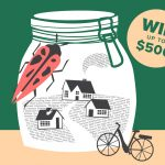 Image is a sketch of a large jar with three houses inside. On the outside of the jar is a bicycle and a beetle.
