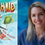Image description: book cover of Fish Kid and the Turtle Torpedo and a head and shoulders image of author Kylie Howarth. She has long blonde hair and is smiling into the camera.