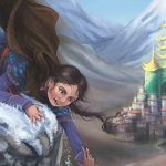 Image description: a young girl with dark hair is on top a mountain peak. She is reaching down to grab someone else's hand. In the distance is a castle.