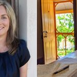 Images: a head and shoulders shot of author Melinda Tognini leaning against a wooden door; a laptop and handwritten notes on the kitchen table of a cottage. An open door leads out into the garden of Samson House