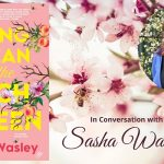 Image description: the book cover of Spring Clean for the Peach Queen and a head and shoulders shot of author Sasha Wasley. The backgroud is of a bee sitting on peach blossoms.