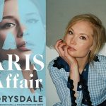 Image description: On the left is the book cover of The Paris Affair. On the right is an image of author Pip Drysdale, who looks seriously into the camera while leaning her chin on her hand with her fingers touching the edge of her mouth.