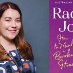 Image description: a head and shoulders shot of author Rachael Johns. She is wearing a patterned top. Her long hair is loose and she is smiling at the camera. On her right is an image of the book cover of How to Mend a Broken Heart