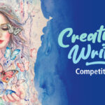 """Image description: on the left hand side of the image is an illustration of a girl with long hair. Behind her is a sandy backgroundShe is holding her hands out and butterflies are flying around her. on the right hand side is is water with """"Creative Writing Competition"""" written over the top."""