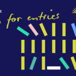 Image description: On a dark blue backgroun are the words The 2022 Stella Prize Open for entries. There are also three rows of rectangles representing books. Some of these are at an angle as if they are falling over.