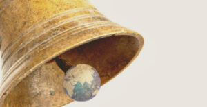 ID: the partial image of a large bell.